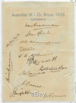 1938 Australian Cricket Équipe 13 Signée À La Main Autographes Bradman, Barnes, Rare
