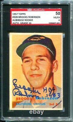 1957 Topps #328 Brooks Robinson Hof Rookie Sgc 4 / Auto Grade 10