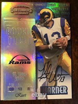1999 Playoff Contenders #146 Kurt Warner Autograph Hand Signé