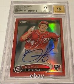 2012 Topps Chrome Red Refractor Auto Bryce Harper 2/25 Rookie Rc Bgs 9 10 #bh