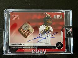 2020 Topps Maintenant 369d Ronald Acuna Jr Auto Ball Relic /10 Red Braves In Hand