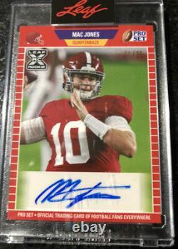 2021 Leaf Pro Set Mac Jones 1er Rc Rookie Autographe Alabama 11/99 (maintenant)