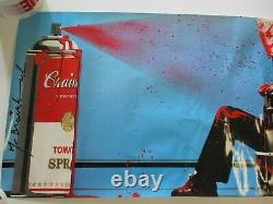 36 Inch Mr Brainwash Poster Main Signée Autographed Rare Vintage Abstract Pop