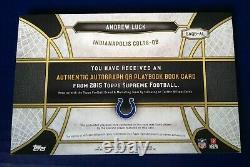 /5 2015 Topps Supreme Andrew Luck Tiré À La Main Playbook Auto Colts Autographe 1/1