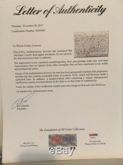 Abraham Lincoln 6 Mots Écrits À La Main De Double Lettre Autographiée Signée Psa / Dna