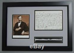 Abraham Lincoln 8 Mots Écrits À La Main De Double Lettre Autographiée Signée Psa / Dna