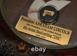 Abraham Lincoln Signé Dans Sa Main L'autographe, Cadre Antique, Coa, Uacc