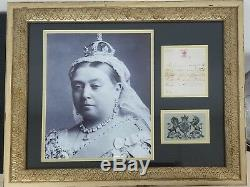 Affiche Encadrée Lettre Signée Par La Reine Victoria Jsa Coa
