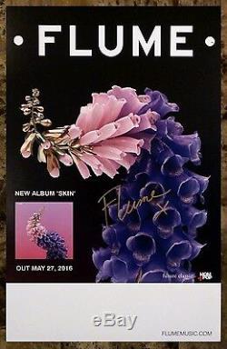 Affiche Rare Autographiée Et Signée À La Main Par Flume Skin Ltd + Affiche De Dance Pop Gratuite Edm