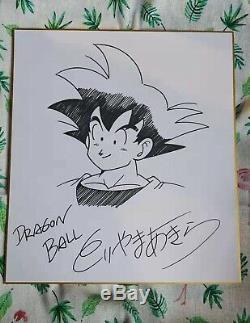 Akira Toriyama Dessiné À La Main Autographié Conseil Shikishi Carte Dragon Ball Art 12019b