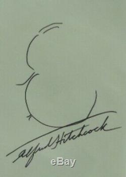 Alfred Hitchcock Main Originale Signée Autographes Self Portrait Sketch