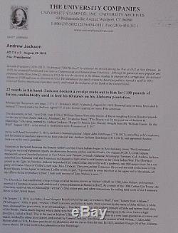 Andrew Jackson Document 22 Mots Dans Sa Nourriture À La Main Re Pour Ses Esclaves Signé