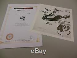 Andy Warhol Signée À La Main Imprimer Dans Chaussures Pen Argent Icer 1986 Coa