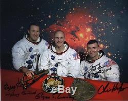 Apollo 13 Crew A La Main Signée 8x10 Photos Haise + Kraft + Lunney + Griffin + Bostick Jsa