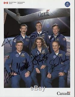 Astronauts Canadiens Signés À La Main 8x11 Photo + Coa Chris Hadfield + Payette + 4 Autres