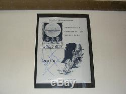 Authentique Neil Armstrong Signé À La Main Sieger Belgique Stamp Bloc Apollo 11 Nasa