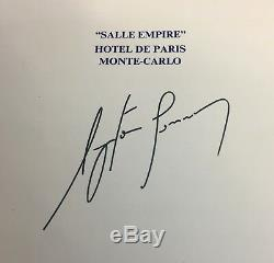 Autographe Ayrton Senna Signé À La Main Signature Monaco Gp 1989 Menu Déjeuner