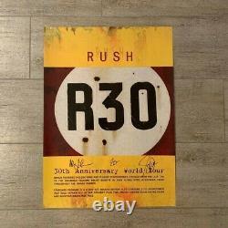 Autographié Rush R30 Poster Geddy Lee Lifeson Neil Peart Main Signée Par Tous Les 3