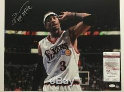 Autographié / Signé Allen Iverson 76ers Hof 2k16 Main À L'oreille 16x20 Photo Jsa Coa