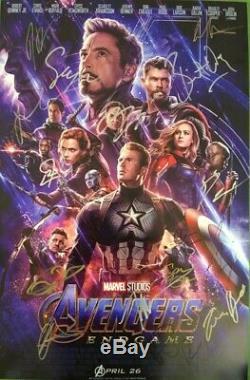 Avengers Endgame Withchris Evans +18 Cast 20x30 Autographes Signés À La Main / Coa