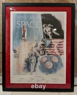 Aviation Navale Dans L'espace Signé À La Main Ltd Ed Lithographie Space-x Neil Armstrong