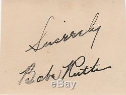 Babe Ruth Autograph Signé À La Main Avec Withcoa