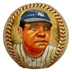 Babe Ruth Hof Yankees Autographié / Signed Peint À La Main Baseball Jsa Et Psa 145320