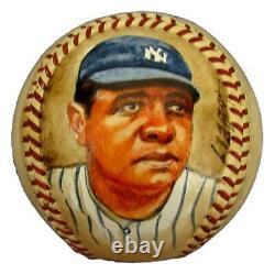 Babe Ruth Hof Yankees Autographié/signé Baseball Peint À La Main Jsa & Psa 145320