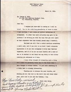 Babe Ruth Lettre De Note Ecrite Par La Main Autographiée Signée Main Baseball Yankees Psa 8