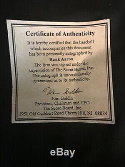Ballon Autographié Au Baseball Signé Par Hank Aaron