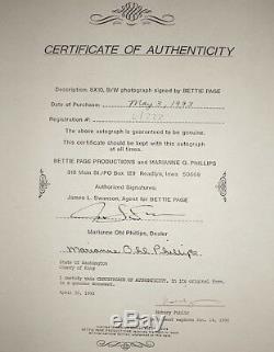 Bettie Page Autographe Signé À La Main 8x10 Photo Pinup 1ère Signature 1993 6/333 Coa