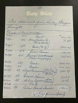 Betty White Golden Girls Main Écrite Et Signée Autograph Remarques Auto Psa Coa