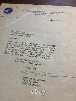 Bill Anders Beckett Bas Main Signée Autographe Nasa Letter Apollo 8 William