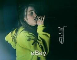 Billie Eilish Auteur De Chansons Chanteur Concert Signée À La Main 8x10 Photo Autographiée Coa