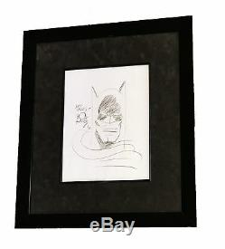 Bob Kane Main Originale Authentique Signée Et Autographié Batman Dessin Encadré 93