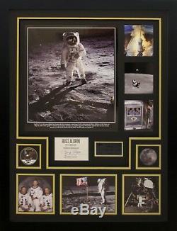 Buzz Aldrin Apollo 11 Véritable Écran De Montage Signé À La Main Encadré