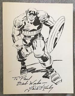 Captain America Black & White Print Hand Signé Par Jack Kirby Autograph Coa