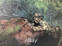 Carlos Hathcock White Feather 1989 Max Crace Print Signé Usmc Sniper Scout