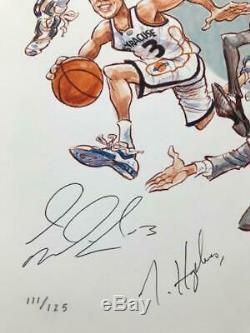 Carmelo Anthony Signée À La Main 2003 Syracuse Imprimer + Boeheim + Hakim + Gmac Épreuve Photo