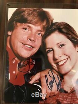 Carrie Fisher Mark Hamill Star Wars Signée À La Main Photo Autographiée Avec Coa