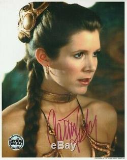 Carrie Fisher Signée À La Main Autograph 8x10 Photo Coa Star Wars Le Retour Du Jedi