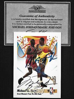 Carte D'autographes Double Contrat Signé Michaelcoa / Magic Johnson Aveccoa