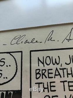 Charles M. Schulz Signée À La Main Snoopy Illustration Peanuts Autograph Comic Strip
