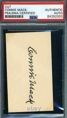 Connie Mack Psa Adn Coa Autograph Signée À La Main Cut Taille Business Card