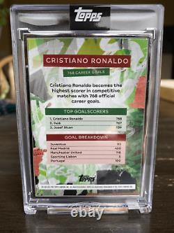 Cristiano Ronaldo Auto 3/25 Topps 768 Meilleur Buteur De Tous Les Temps En Hand