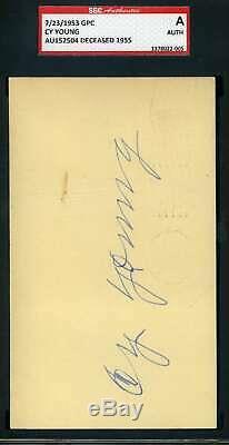 Cy Young Sgc Coa Autograph Signée À La Main 1953 Gpc