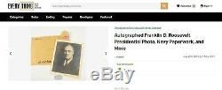D. Roosevelt Jsa Franklin Loa Autograph Signée À La Main Président Photo