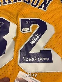 Dédicacée Magic Johnson Main Los Angeles Lakers Écrit Maillot Étoile Jsa Signé