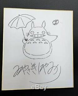 Dessiné À La Main Dédicacé Shikishi Hayao Miyazaki Conseil Art Tonari No Totoro 89a