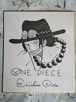 Dessiné À La Main Oda Eiichiro One Piece Shikishi Art Board Dédicacé 2724 1119e
